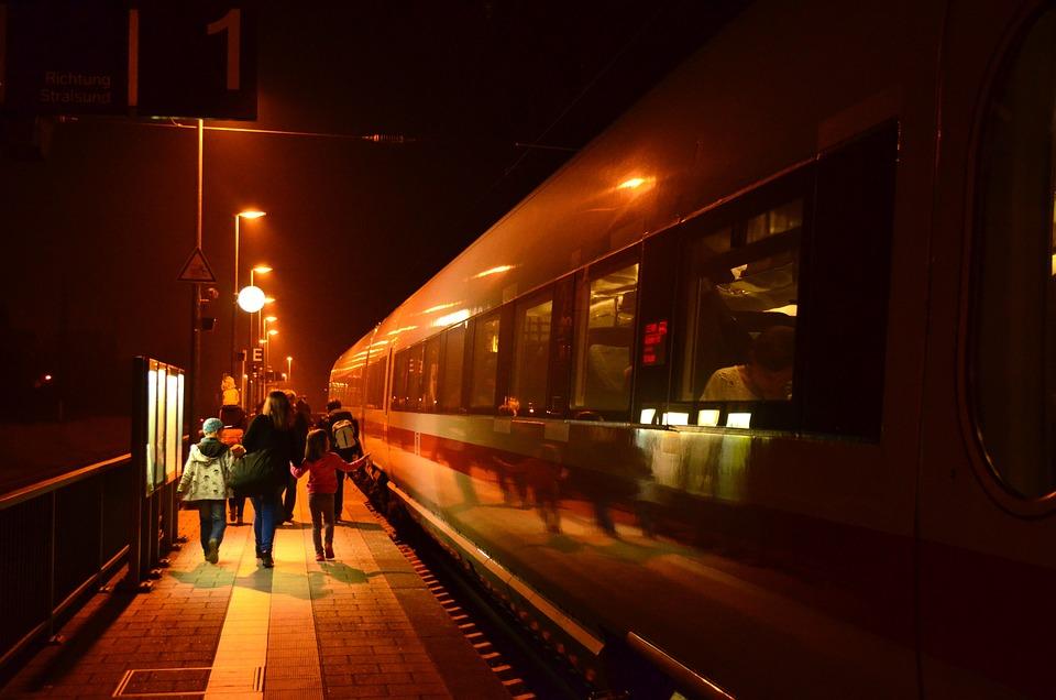 Night, Railway Station, Lights, Lighting, Train, Travel
