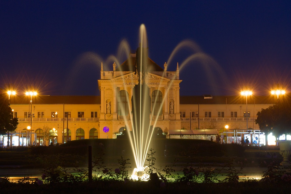 Croatia, Zagreb, Fountain, Railway Station, Night
