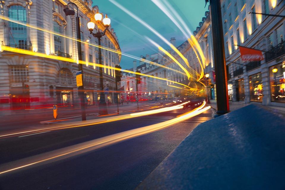 London, Street, Traffic, Night, Regent Street, Bus