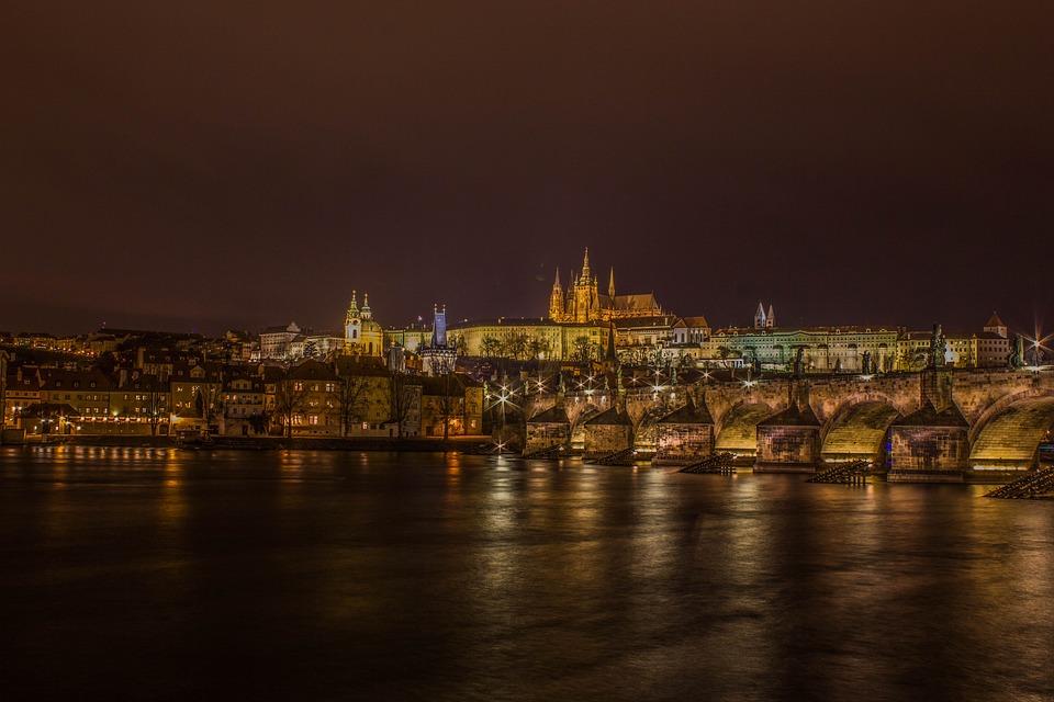 Charles Bridge, Castle, River, Night, Prague, Bridge