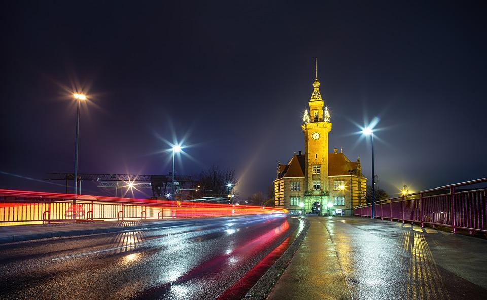 Night, Road, Architecture, Harbor Office, Dortmund