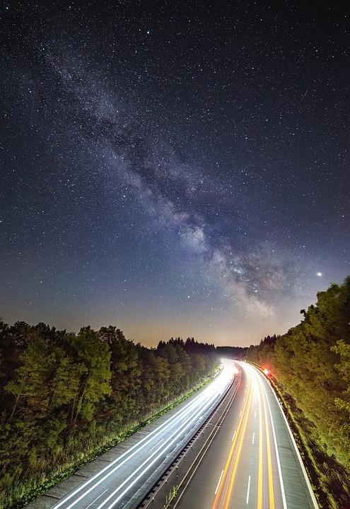 Star, Milky Way, Starry Sky, Night, Highway, Road