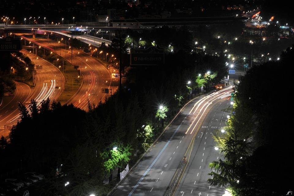 Night Road, Street Lights, Road, Olympic Boulevard