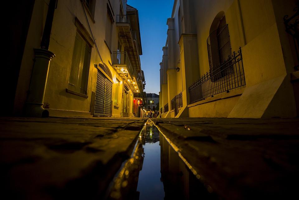 Alley, Night, City, Street, Dark, Urban, Light, Scene