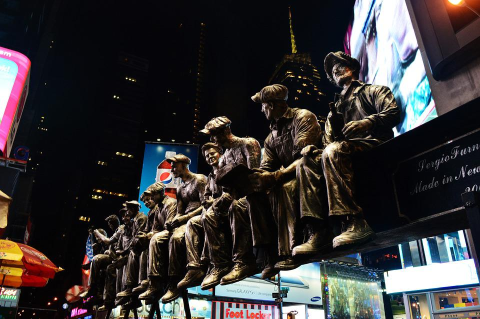 New York, Sculptures, Timessquare, Night, City