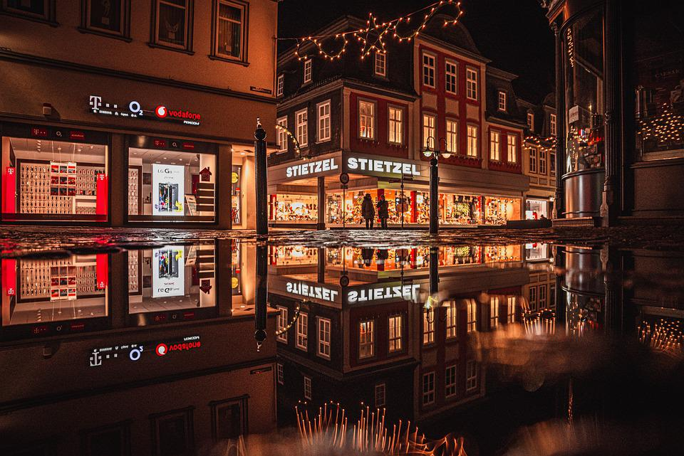 Shops, Night, Illuminated, Establishments, Stores