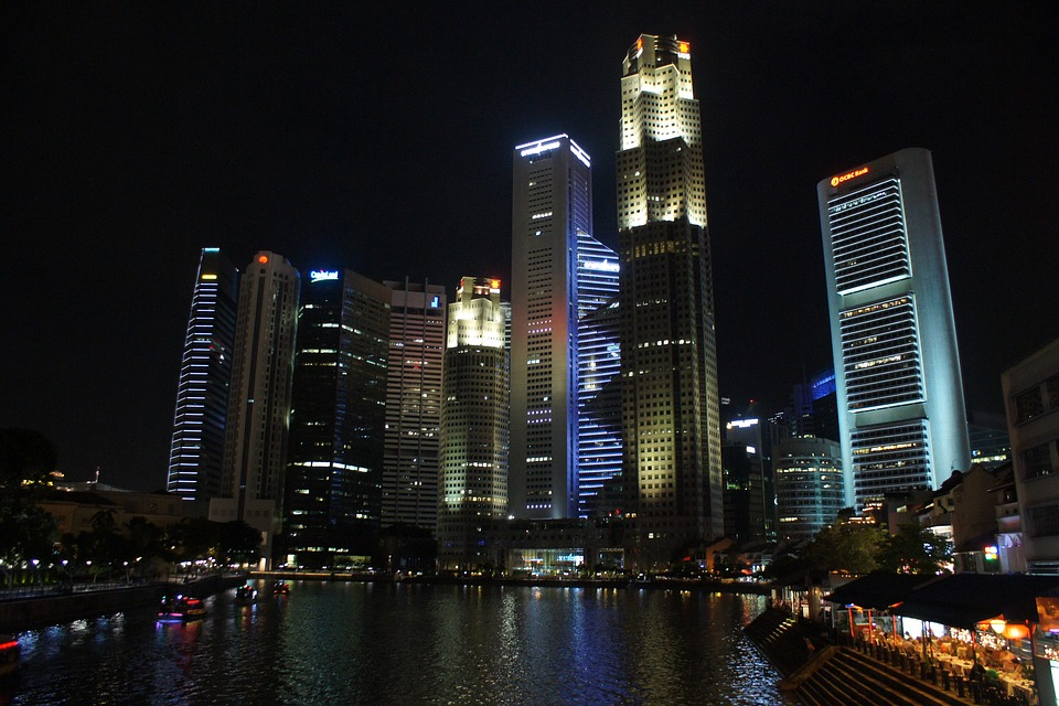 Singapore, Skyline, Architecture, Asia, Night, Modern