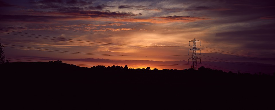 Night Sky, Pylon, Power Line, Sunset, Clouds, Landscape