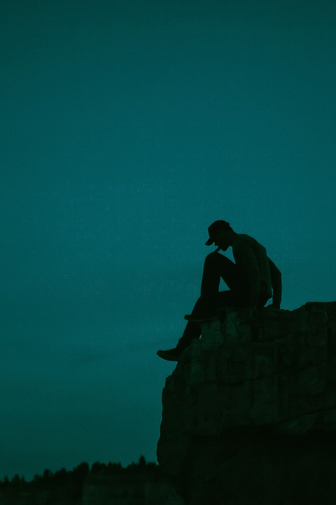 Guy, Man, Silhouette, Dark, Night, Evening, Sky, Cliff