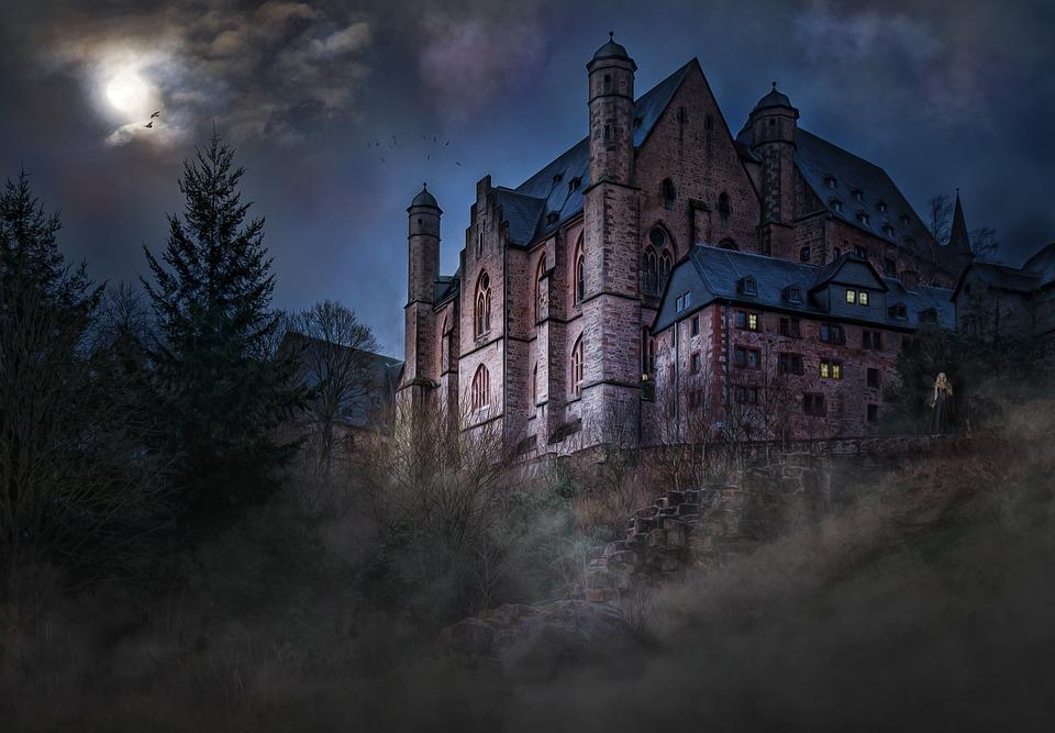 Castle, Mystical, Mood, Moonlight, Night Sky