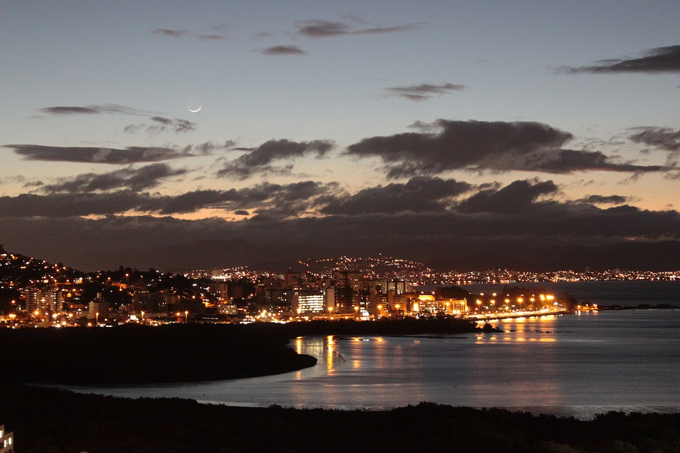 City, Night, Sea, Night Sky, Sky, Landscape