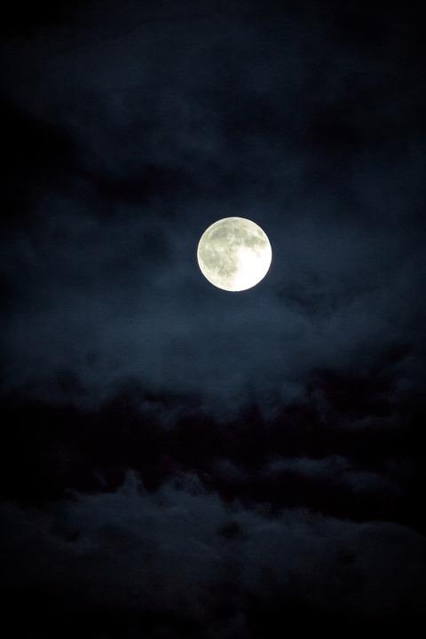 Moon, Night, Sky, Dark, Night Sky, Dark Sky, Clouds