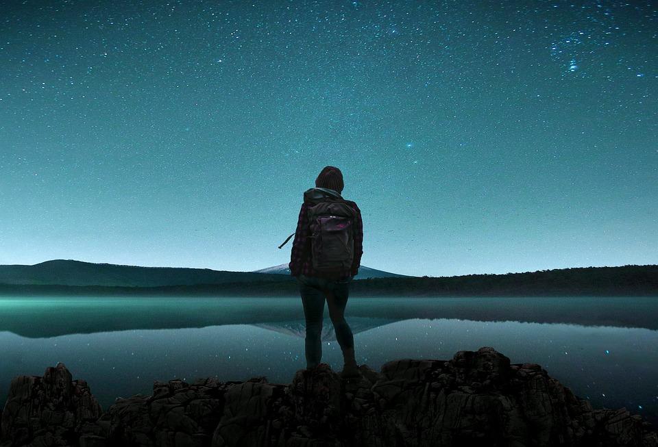 Lake, Traveler, Night Sky, Water, Water Reflection