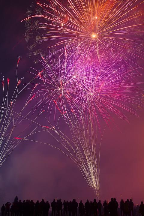 Fireworks, Fire, Night, Color, Light, Dark, Smoke