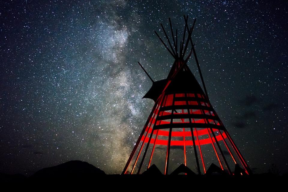 Night, Milkyway, Tipi, Sky, Star, Space, Universe