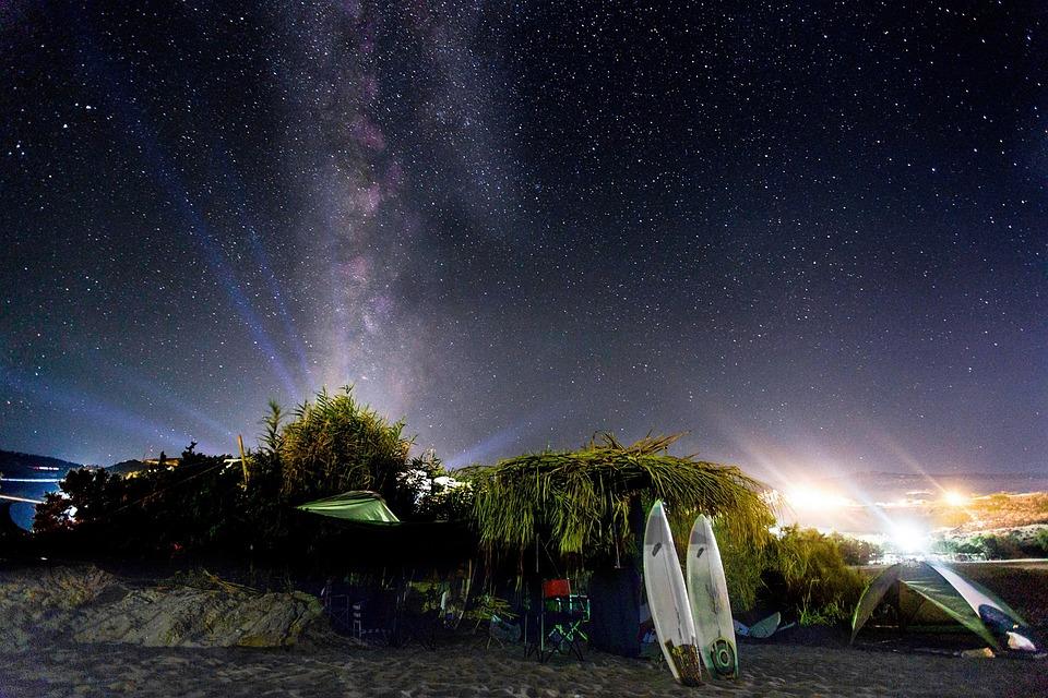 Night Sky Stars Landscape Beach