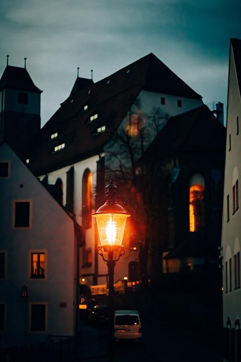 City, Alley, Night, Street Lamp, Light, Church, Road