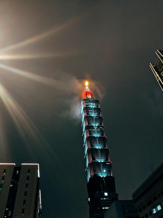Skyscraper, Taipei, Night, Illuminated, Fog, Sky
