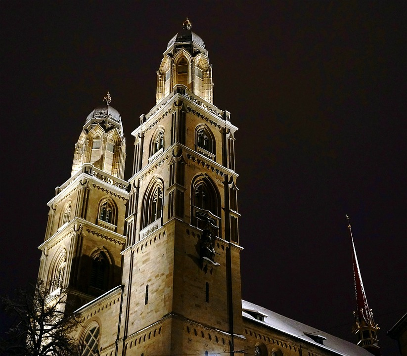 Zurich, Night, Dark, Church, Tower, Light, Shadow