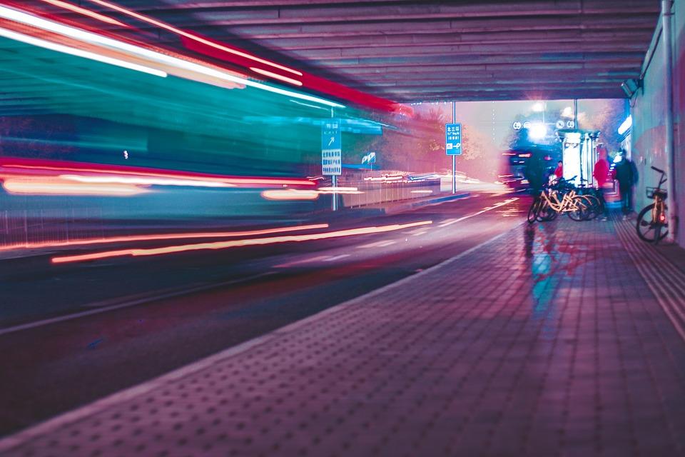 Night, City, Cyberpunk, Light, Traffic