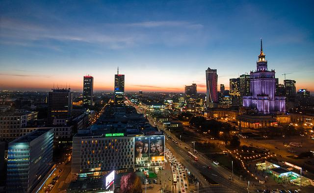 Warsaw, Night, Poland, City, Europe, Travel