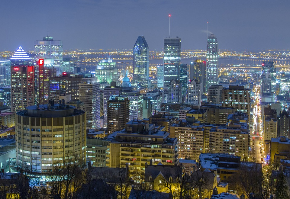 Montreal, City, Urban, Night, Lights, Mont Royal