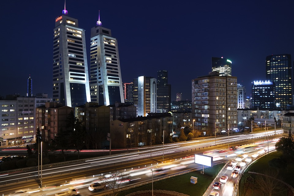 City, Cars, Traffic, Vehicles, Lights, Night, Buildings