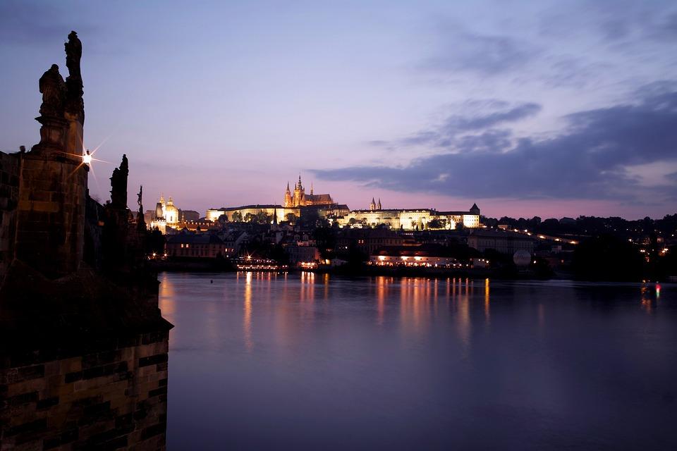 Czech Republic, Prague, Castle, Night View, Bridge