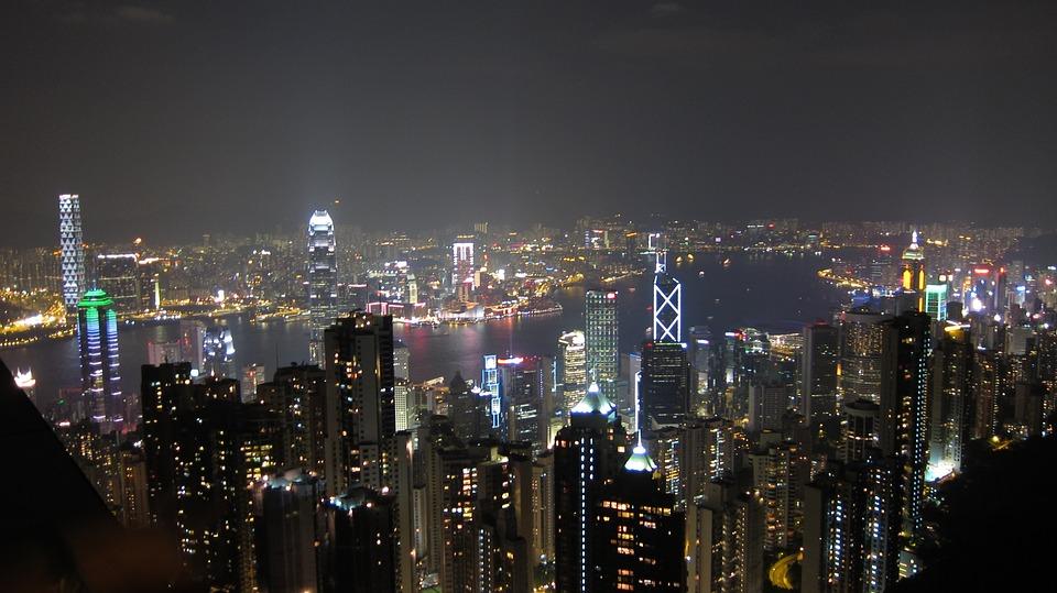 Hong Kong, Night View, Large F