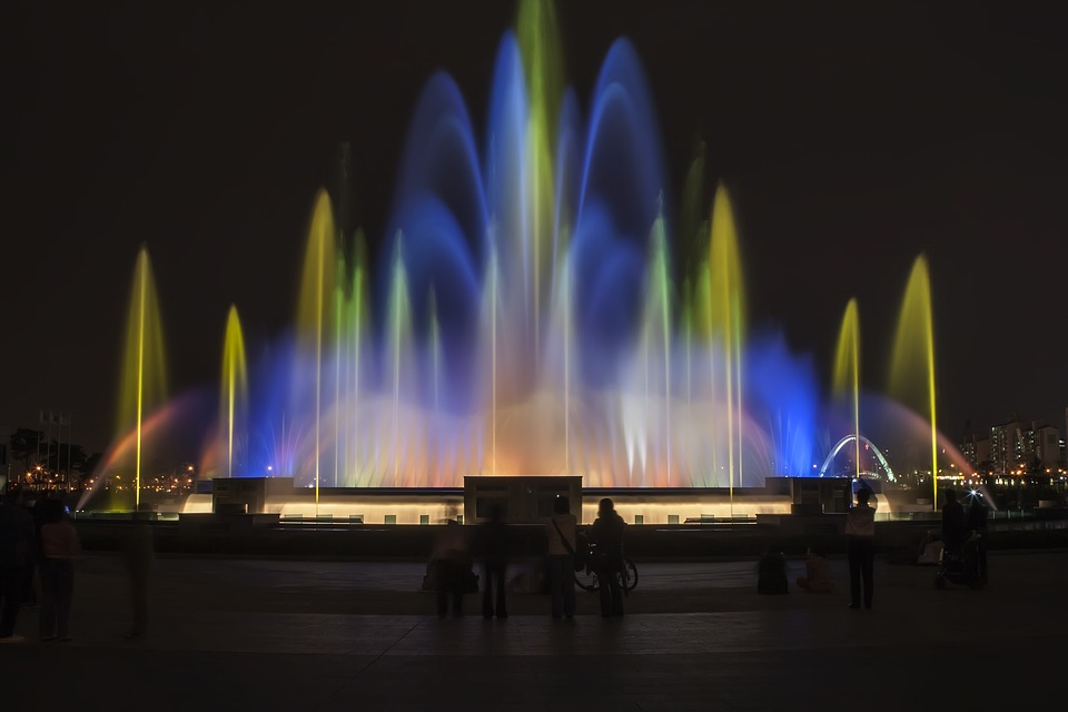 Lake Park, Fountain, Night View, Night