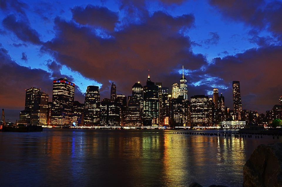 View, Horizon, Manhattan, Bay, Night, Lights