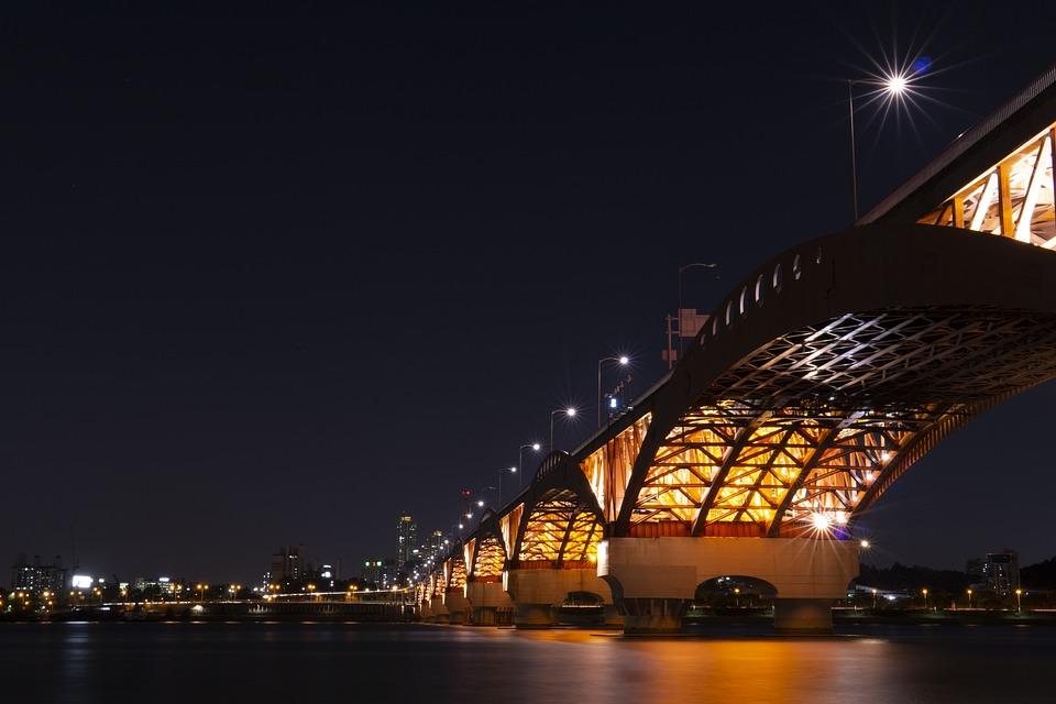 Night View, Seoul, Seongsan Bridge, Korea