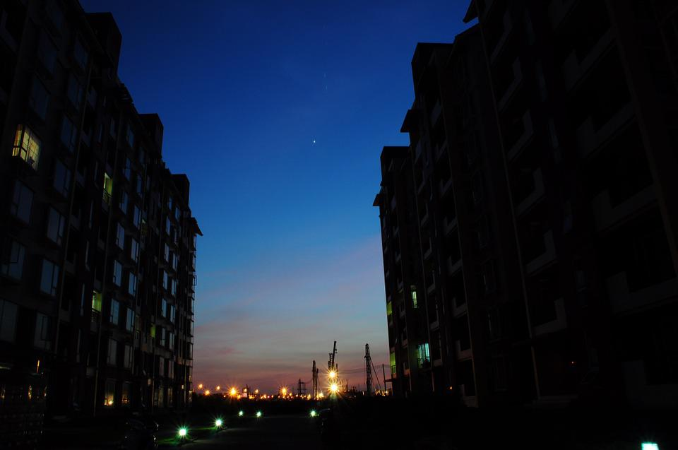 Night View, Silhouette, Starry Sky, Construction Site