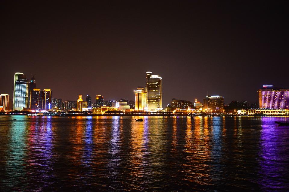 Xiamen, Night View, Reflection, Tall Buildings