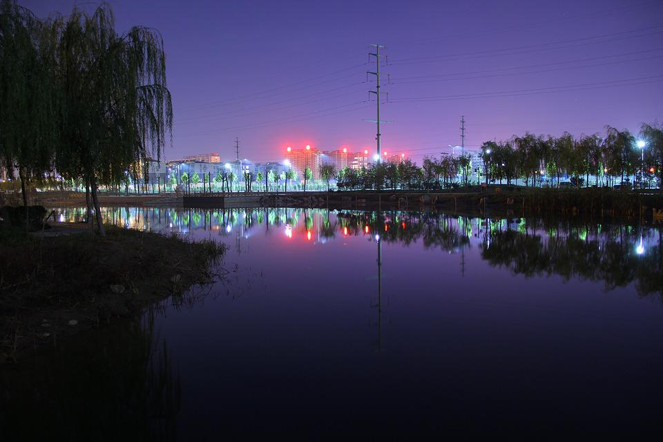 Night View, Purple, Yanggu County, Goldwater Lake Park