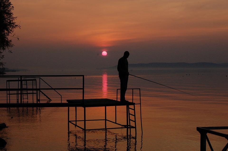 Angler, Sunset, Lake Balaton, Nature, Lake, Nightfall