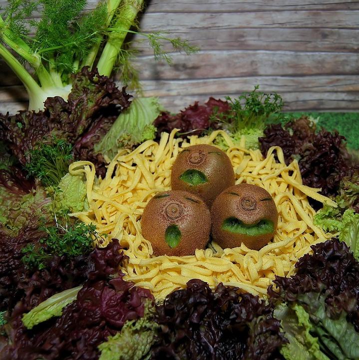 Kiwi, Fruit, Vegetables, Salad, Spätzle, Noodles