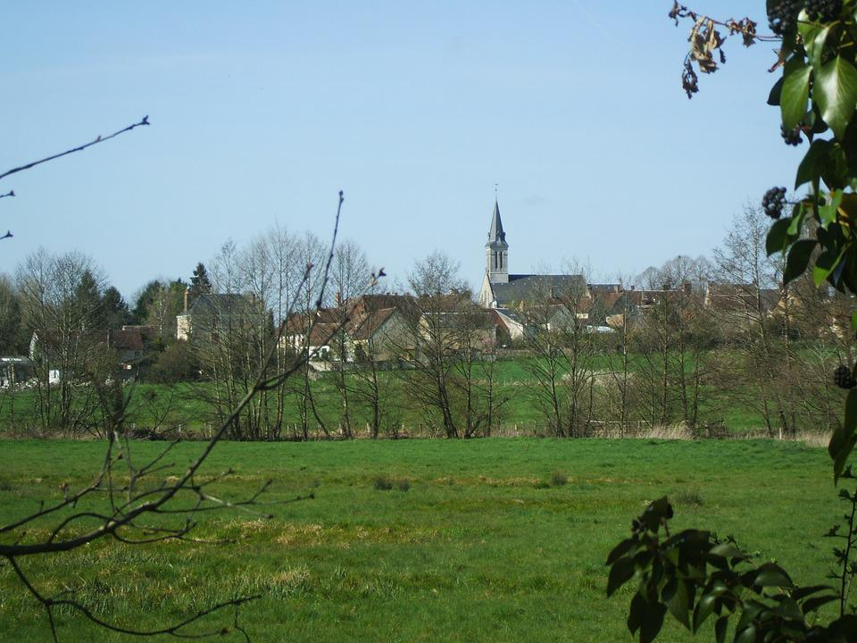 Green, Church, Village, City, Field, Normandy