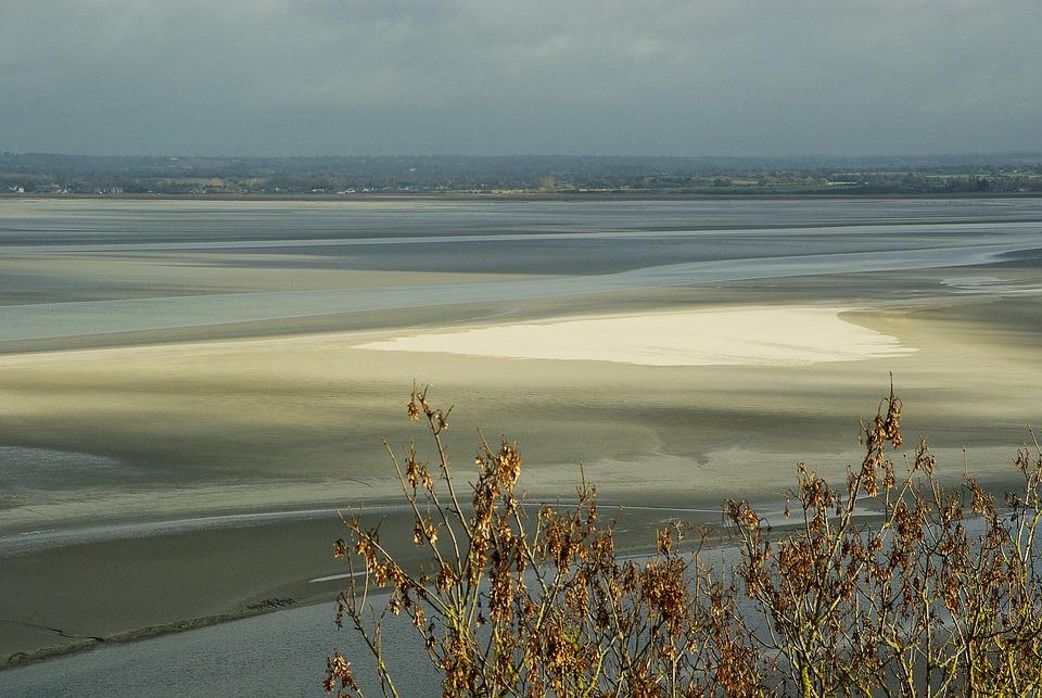 Normandy, Bay, Low Tide, Mont Saint Michel