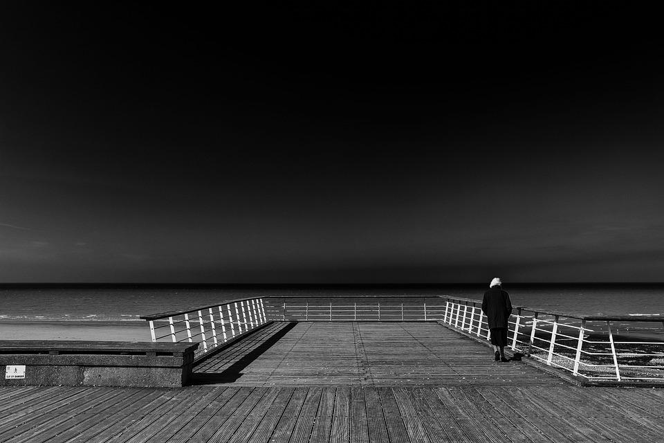 Sea Bridge, Normandy, Atmospheric, Sea, Sky, Old Woman