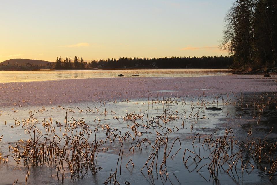 Sweden, Winter, Soutujärvi, Norrbotten, Snow, Sunset