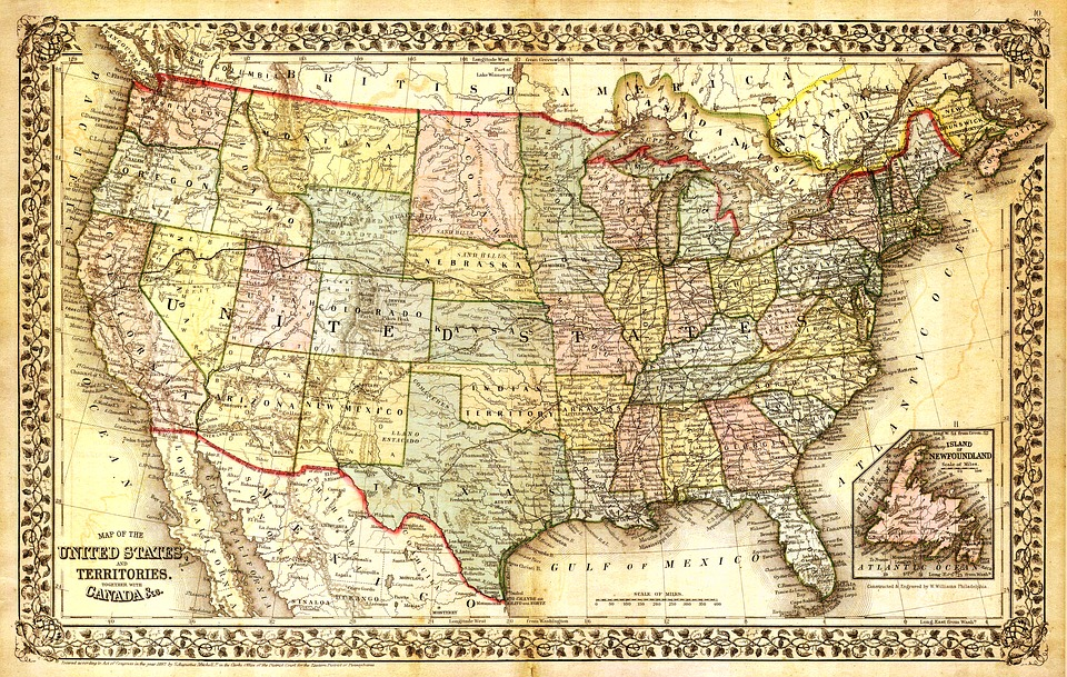 United States Map, North America Map, Map, Old Map