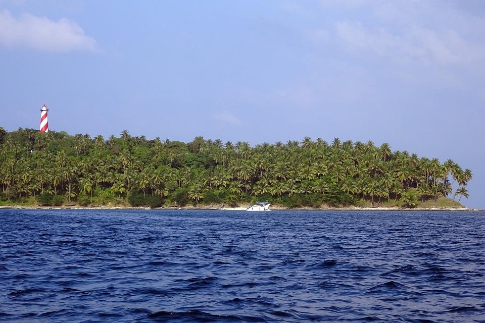 Island, North Bay, Lighthouse, Coconut Groves, Sea, Bay