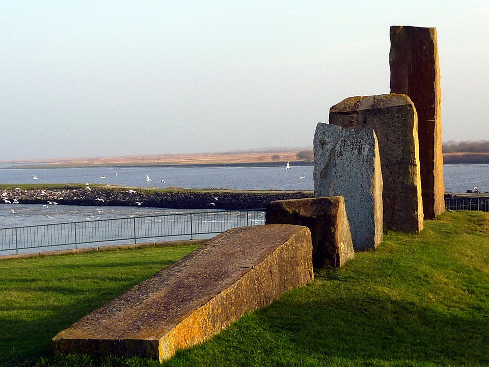 Monument, North Beach, Holmer Siel, Stones, Landscape