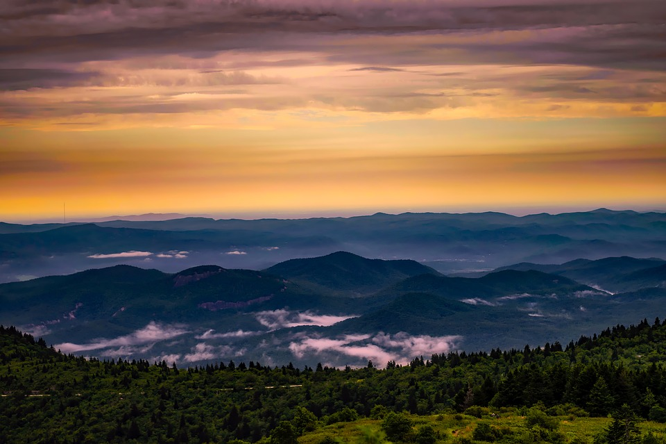 North Carolina, Mountains, Sunrise, Daybreak, Fog, Sky