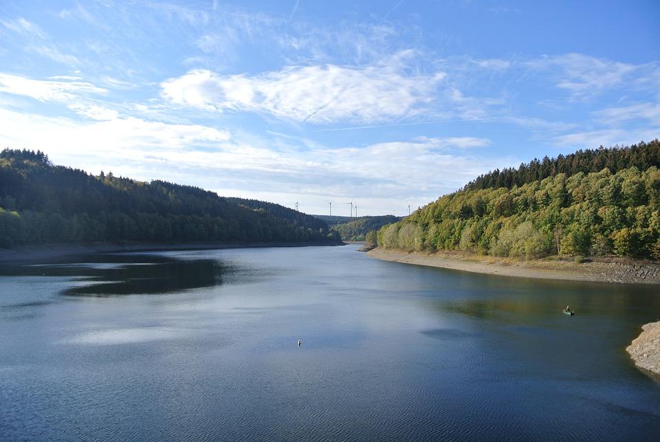 Dam, Water, Landscape, Germany, North Rhine-westphalia