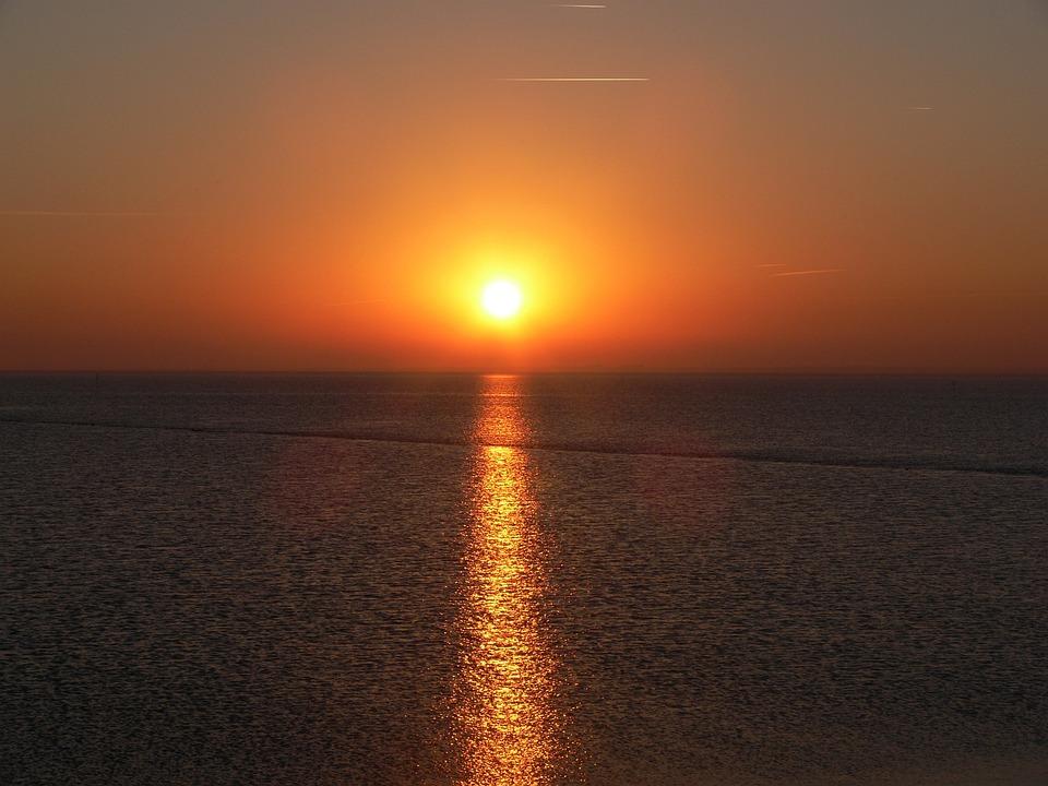 Sunset, North Sea, Lake, Background, Sea, Nordfriesland