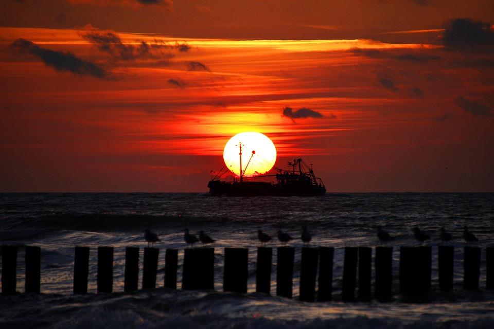 Ship, Boot, Sea, North Sea, Sun, Sunset, Afterglow