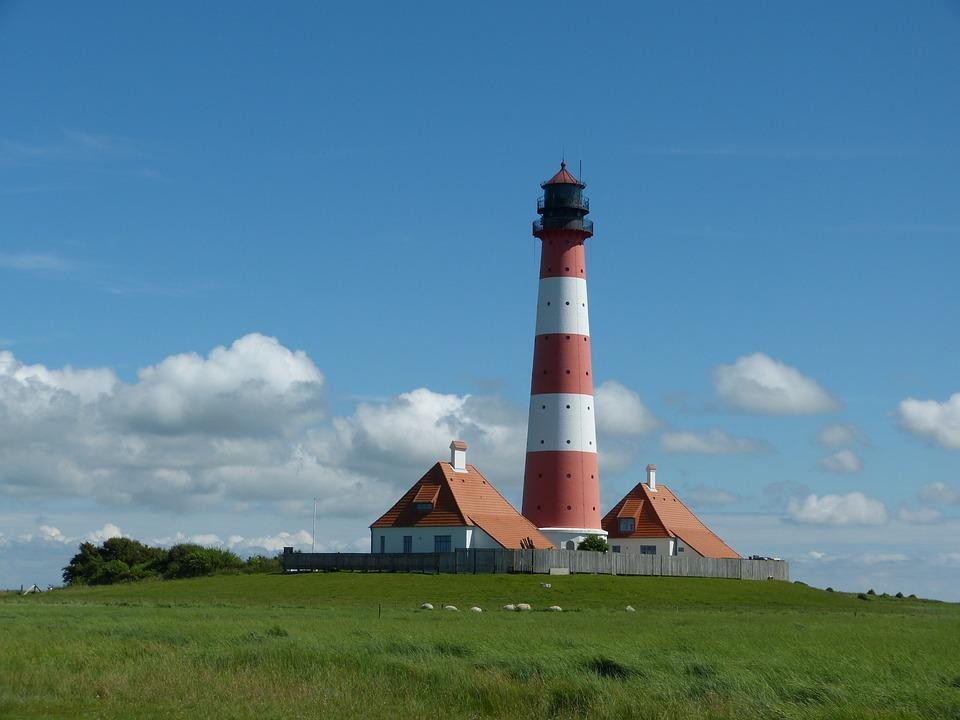 Lighthouse, Westerhever, Sky, Vacations, North Sea
