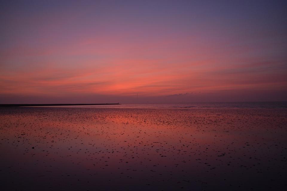 Blue Hour, North Sea, Sunset, Wadden Sea, Sea, Sky